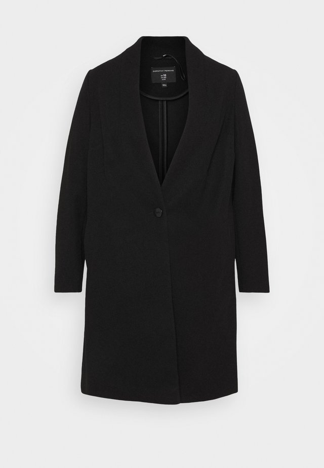 COLLARLESS UNLINED - Classic coat - black