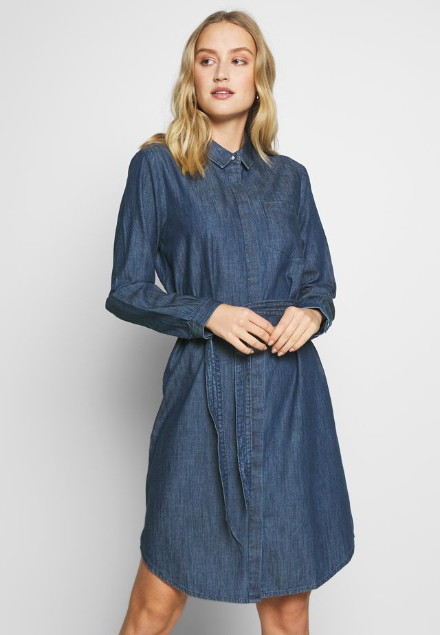 DRESS WITH TIE - Farkkumekko - dark stone wash denim