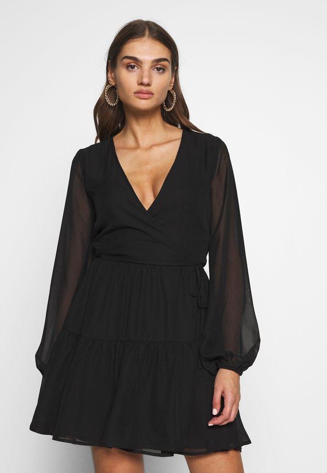 FIERCE WRAP DRESS - Korte jurk - black