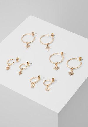 PCNAOMI HOOP EARRINGS 4 PACK - Oorbellen - gold-coloured/green
