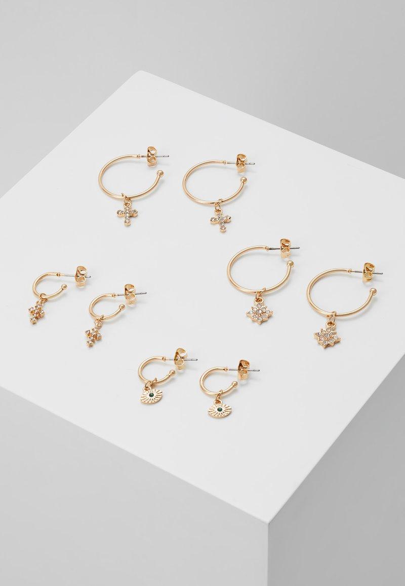 Pieces - PCNAOMI HOOP EARRINGS 4 PACK - Earrings - gold-coloured/green