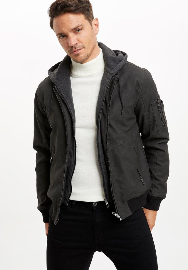 Faux leather jacket - anthracite