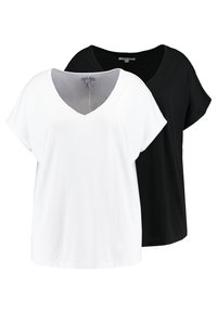 CAPSULE by Simply Be - V NECK 2 PACK - Print T-shirt - black/white - 0