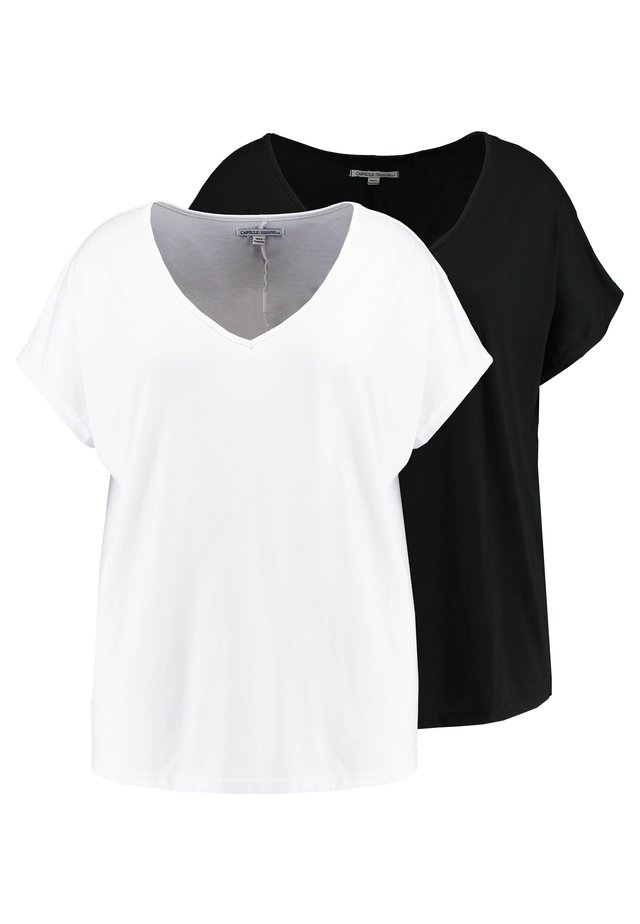 V NECK 2 PACK - Print T-shirt - black/white