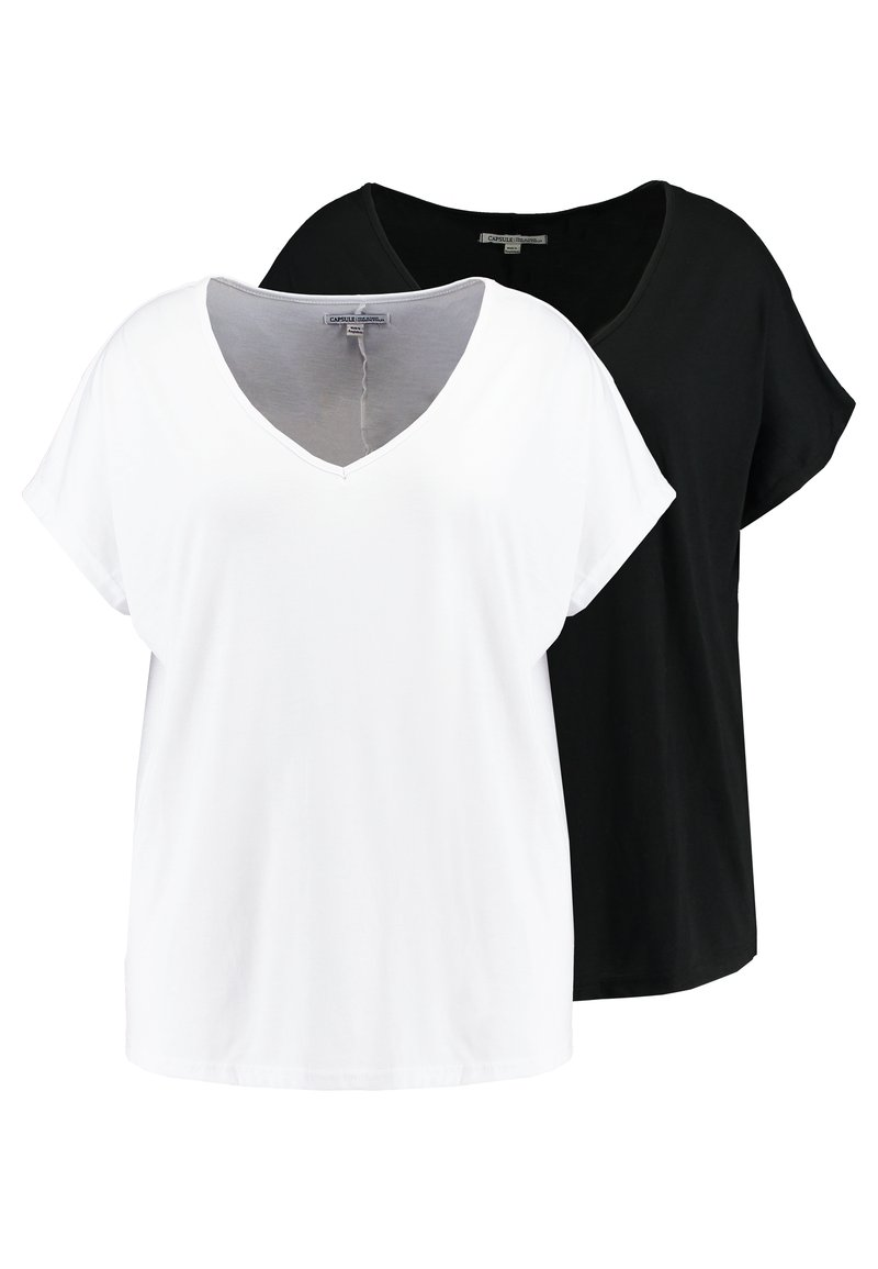 CAPSULE by Simply Be - V NECK 2 PACK - Print T-shirt - black/white