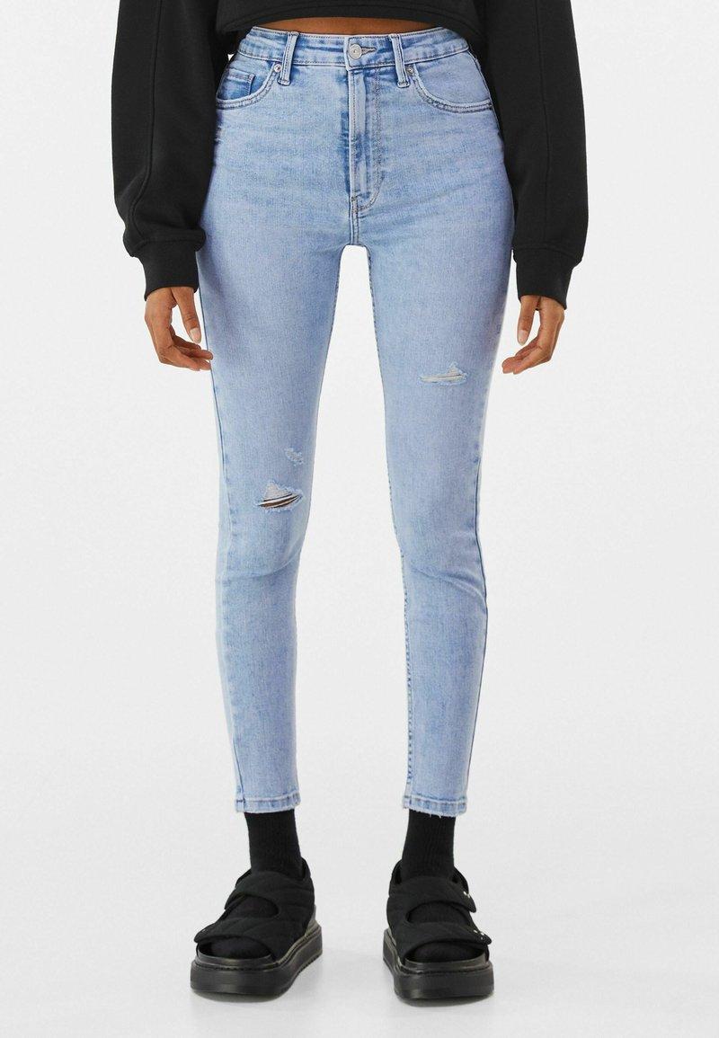 Bershka - SUPER HIGH WAIST - Jeans Skinny Fit - blue denim