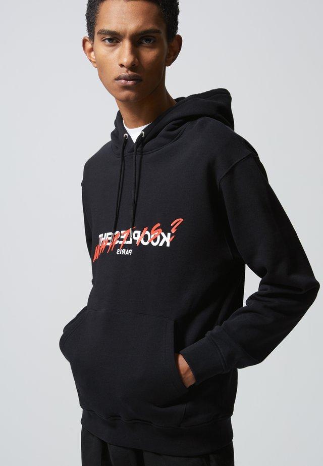 BEDRUCKTES BAUMWOLL-SWEATSHIRT MIT KAPUZE - Sweatshirt - black