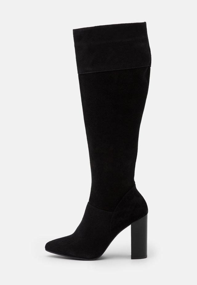 LEATHER - Laarzen met hoge hak - black