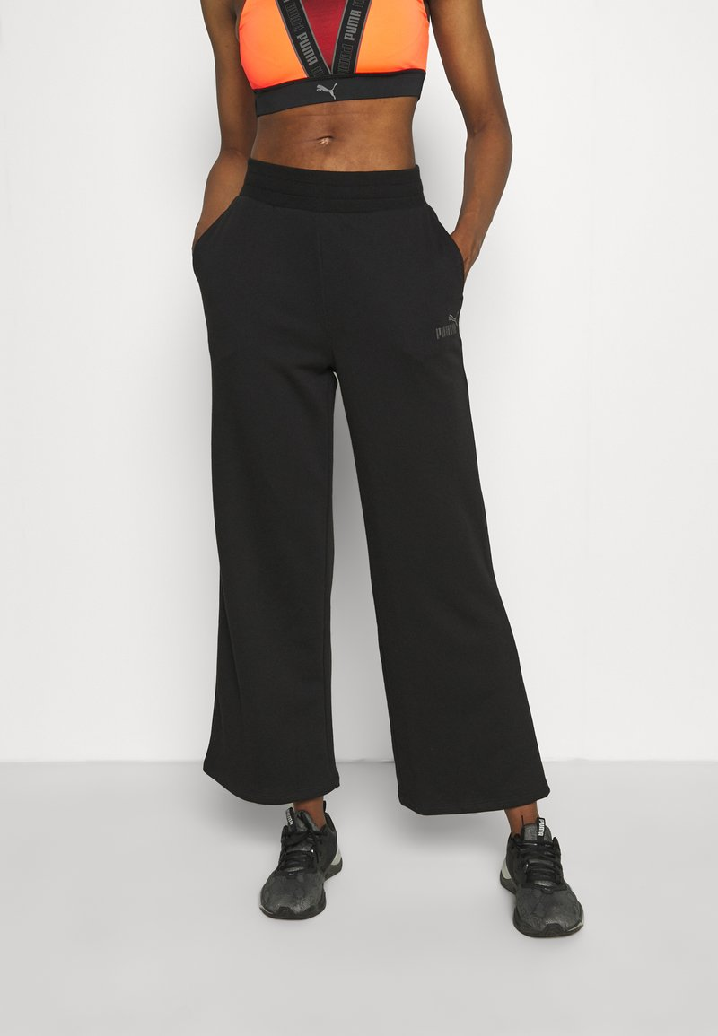 Puma - EMBROIDERED WIDE PANTS - Tracksuit bottoms - black