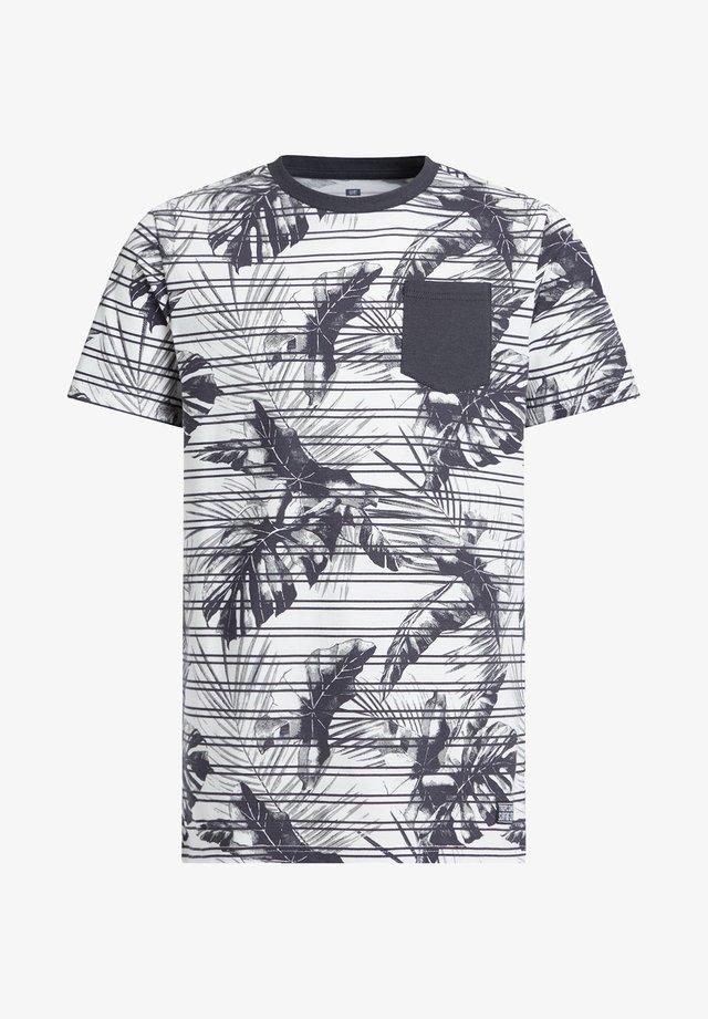 MET STREEP- EN BLADERENDESSIN - T-shirt imprimé - grey