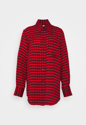 POINTED COLLAR SHIRT - Button-down blouse - red/black