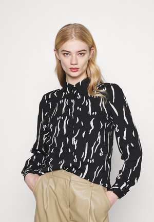 VMELITA - Button-down blouse - black/graphic white