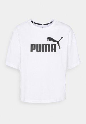 CROPPED LOGO - T-shirt imprimé - white