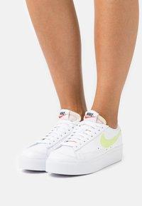 Nike Sportswear - BLAZER PLATFORM - Trainers - white/light lemon twist/black/team orange - 3