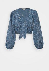 American Eagle - TIE FRONT - Camiseta de manga larga - blue - 0