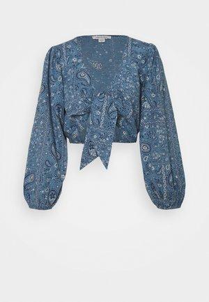 TIE FRONT - Maglietta a manica lunga - blue