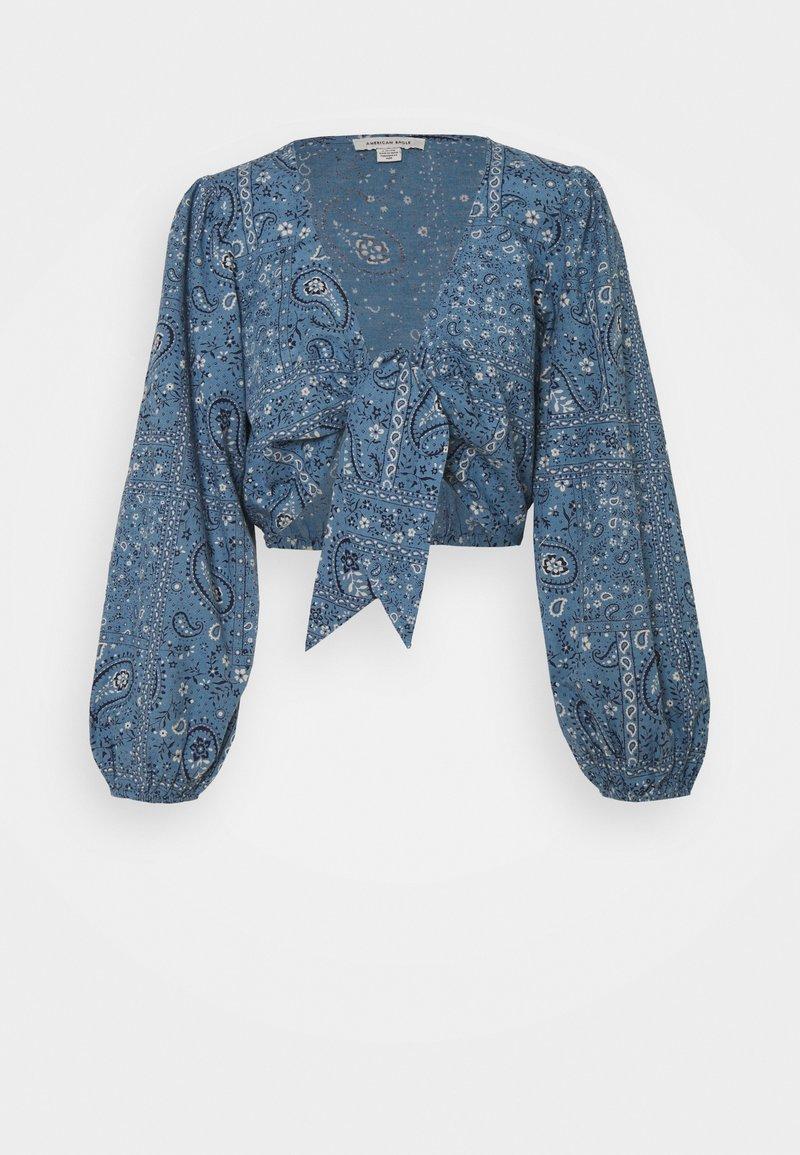 American Eagle - TIE FRONT - Camiseta de manga larga - blue