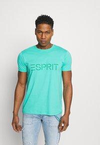 Esprit - LOGO - Print T-shirt - aqua green - 0