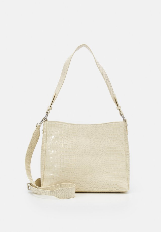 AMBLE CROCO - Handbag - soft offwhite