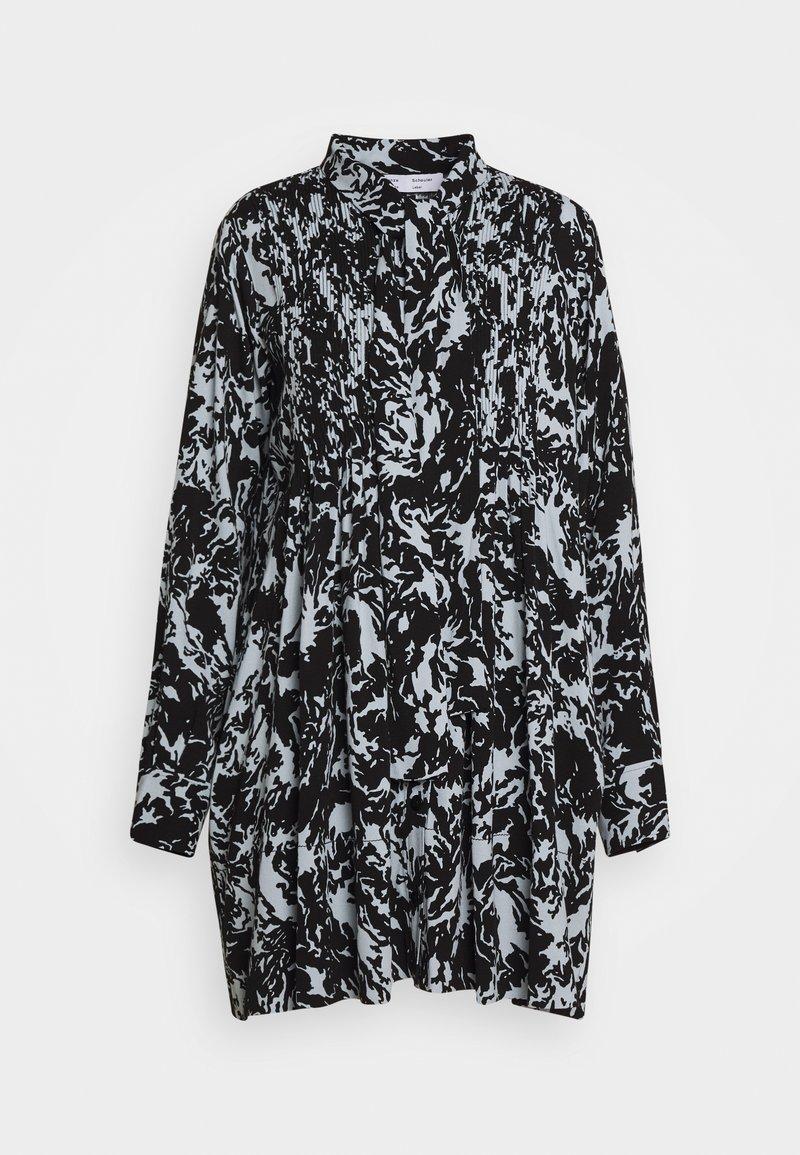 Proenza Schouler White Label - PRINTED GEORGETTE BABY DOLL DRESS - Denní šaty - seal blue/black