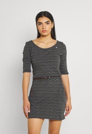 TANYA CHEVRON - Jersey dress - dark grey
