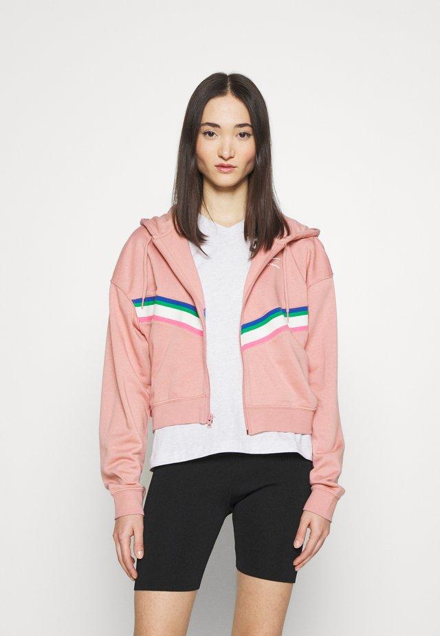 Zip-up sweatshirt - rust pink/white