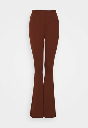 WIDE LEG TROUSERS - Trousers - brown