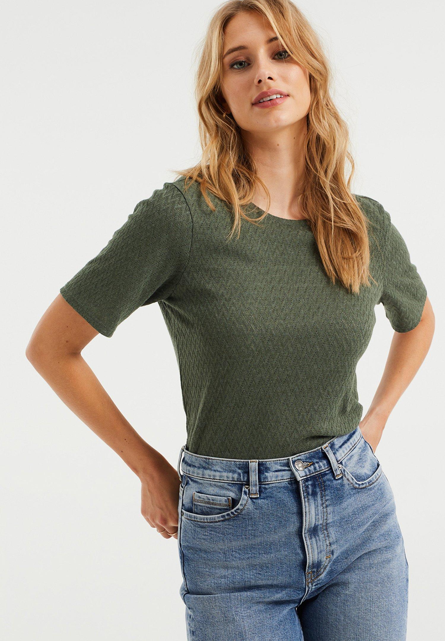 Damen MET OPENGEWERKT DESSIN - T-Shirt basic