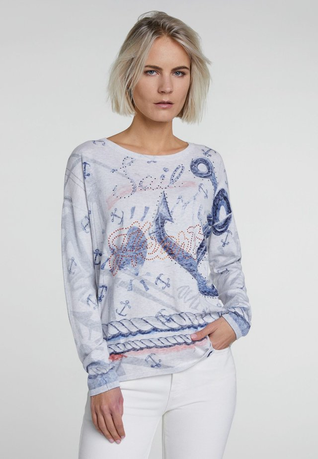 MIT STRASS - Jumper - light grey blue