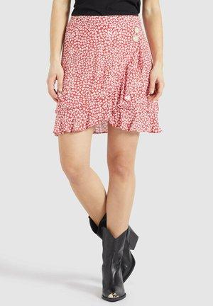 UNDINE - A-line skirt - rot-weiß geblümt
