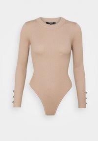 Missguided Petite - BUTTON CUFF CREW NECK BODY - Maglione - sand - 0