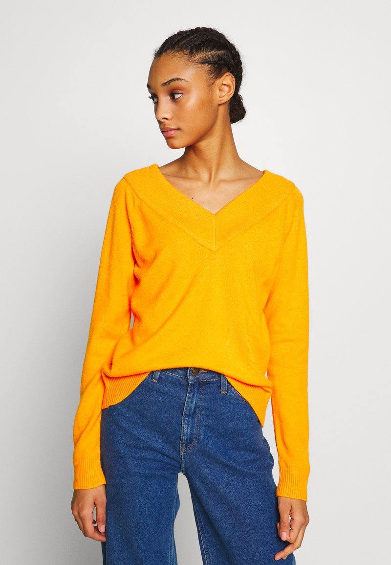 Vila - VIRIL V NECK  - Sweter - orange