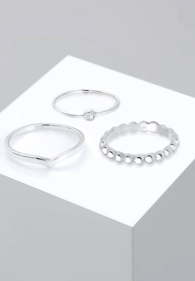 3ER SOLITÄR - Anello - silver-coloured