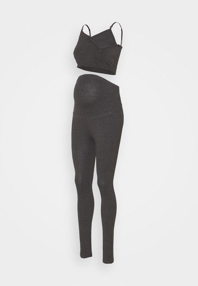 SET NURSING FUNCTION CROP TOP & LEGGINGS - Legging - dark grey