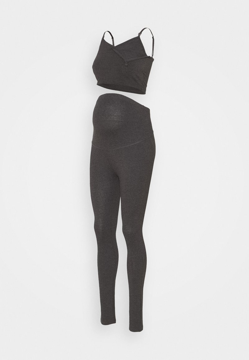 Anna Field MAMA - SET NURSING FUNCTION CROP TOP & LEGGINGS - Leggings - Trousers - dark grey