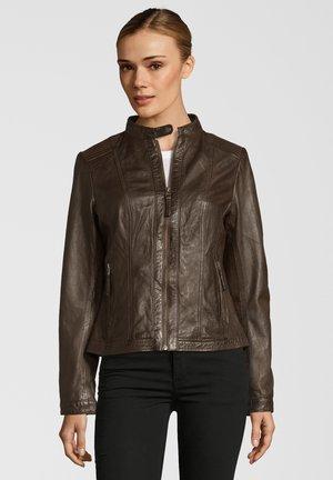 URSEL - Leather jacket - dark brown