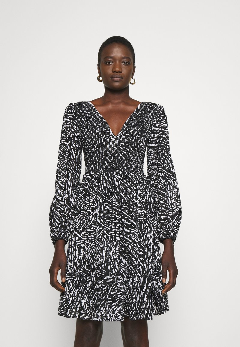 MICHAEL Michael Kors - ZEBRA SMOCK DRESS - Cocktail dress / Party dress - white/black
