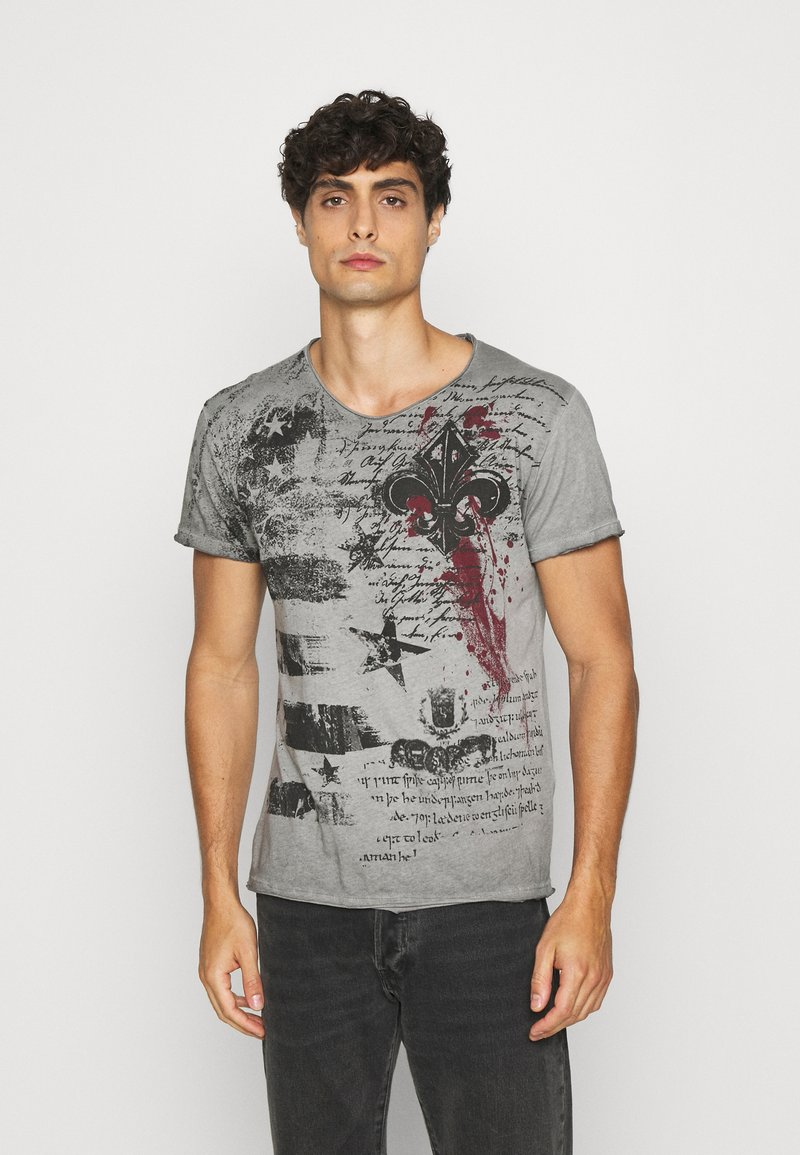 Key Largo - INDICATE ROUND - T-shirt con stampa - anthracite