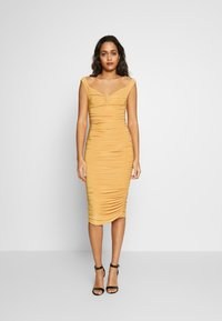Club L London - BARDOT RUCHED DRESS - Cocktail dress / Party dress - mustard - 0