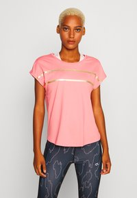 ONLY Play - ONPFELICE LOOSE TRAINING TEE - T-Shirt print - strawberry pink/white gold - 0