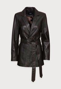 JOLY - Leather jacket - dark brown