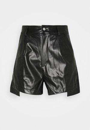 BUTTON FRONT ASYMM HEM - Shorts - black