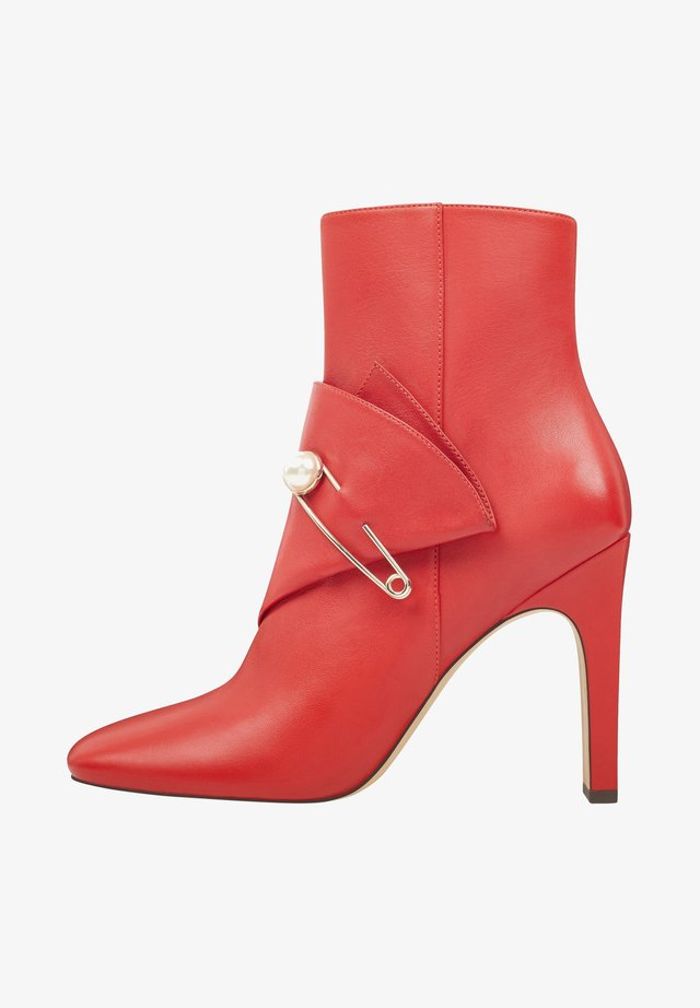 High heeled ankle boots - fire red