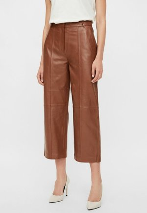 Leather trousers - cognac
