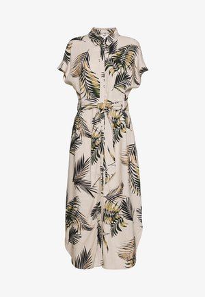 OBJADIL SS PALM  - Shirt dress - sandshell/burnt olive