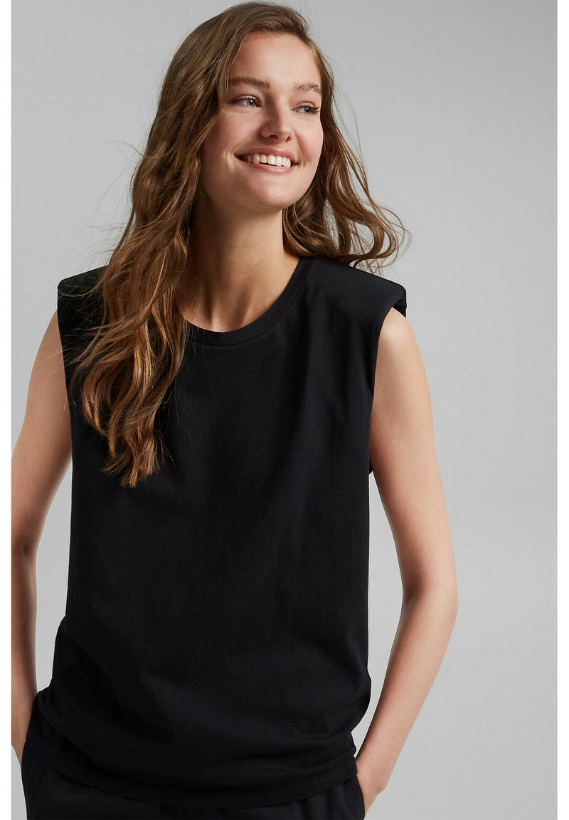Esprit Collection - PADDED TEE - Basic T-shirt - black