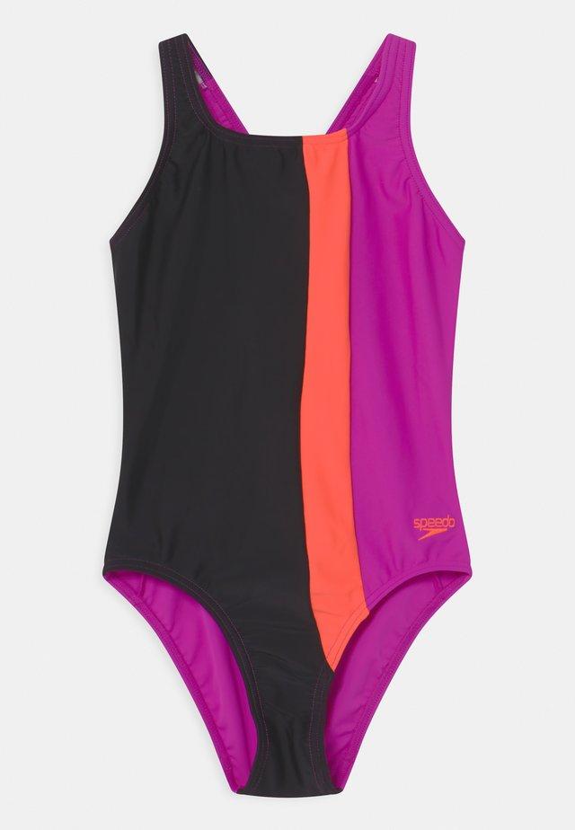 COLOURBLOCK POWERBACK - Swimsuit - black/diva/volcanic orange