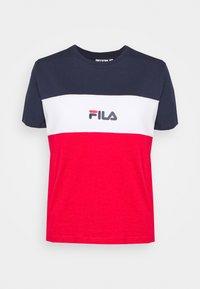Fila - ANOKIA BLOCKED TEE - T-shirt print - true red/black iris/bright white - 4