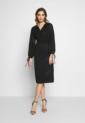 SHEER TEXTURE TIE DETAIL MIDI DRESS - Day dress - black