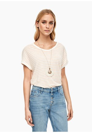 Print T-shirt - cream/light orange stripes